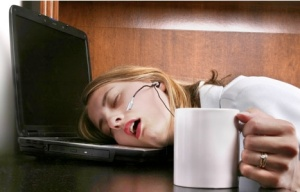 This is me trying to write the post about sleep. (Minus that headset-thingy... I don't have that.)
