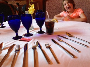 "Playing ""Poison Silverware"" at the ""very fancy restaurant."" (My childhood friends will understand... we didn't have M&Ms!)"