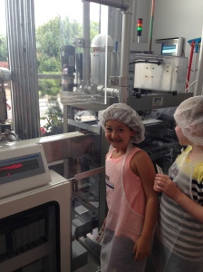 We made our own chocolate bars, hence the hairnets. Someday, LO will discuss this in therapy.